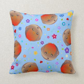 cute robin birds and flowers - blue cushion