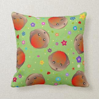 cute robin birds and flowers - green cushion