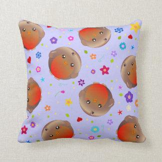 cute robin birds and flowers - lilac cushion