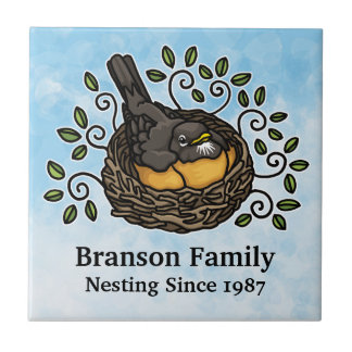 Cute Robin Nesting, Add Your Family Name and Date Tile