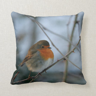 Cute Robin red breast bird photo Cushion