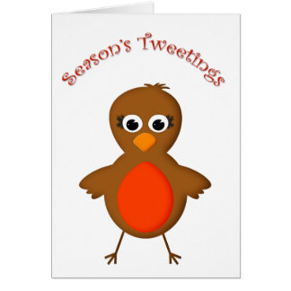 Cute Robin Redbreast Christmas Cartoon Greeting Card