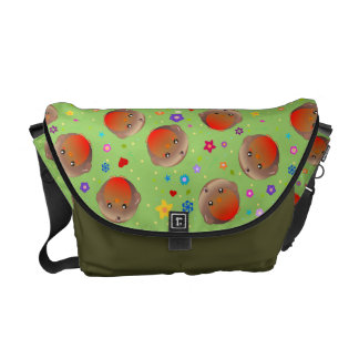 Cute Robins and flowers design  - green bag Messenger Bag