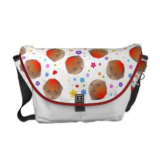 Cute Robins and flowers design  - white bag Courier Bags