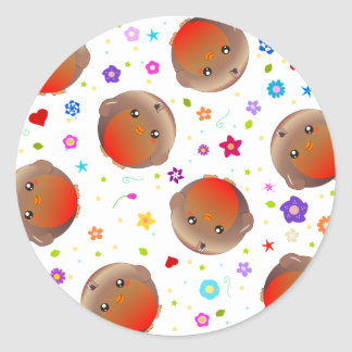 Cute robins and flowers pattern classic round sticker