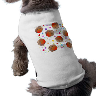 Cute robins and flowers pattern dog tee shirt