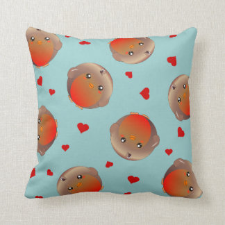 cute robins and red hearts - blue cushion