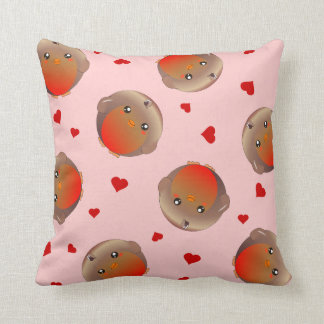 cute robins and red hearts - coral pink cushion