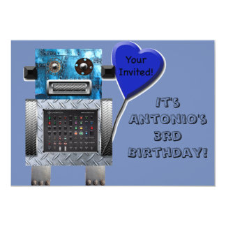 Cute Robot Birthday Card Invitation Customise It!