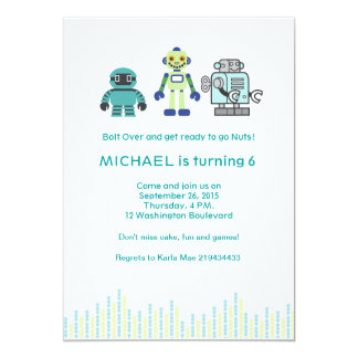 Cute Robot Birthday Party Card