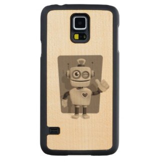 Cute Robot Carved Maple Galaxy S5 Case