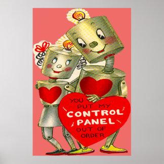 Cute Robot Couple Light Heart Valentine Poster