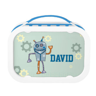 Cute Robot Personalized Name Boys Lunch Box