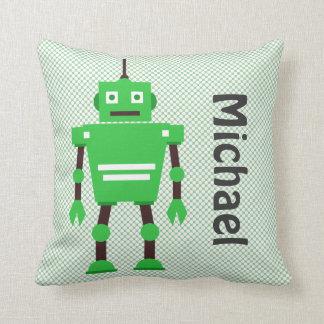 Cute Robot Pillow, Green, White, Black Cushion