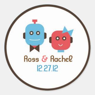 Cute Robot Theme Wedding Round Sticker