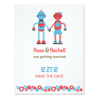Cute Robot Theme Wedding Save the Date Card