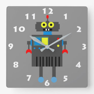 CUTE ROBOT TOY WITH WHITE NUMBERS SQUARE WALL CLOCK