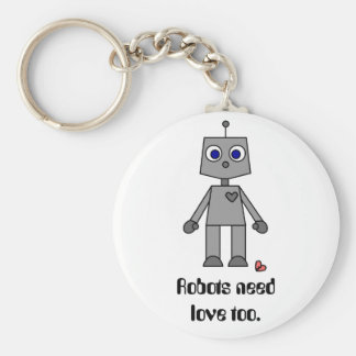 Cute Robot With A Broken Heart Basic Round Button Key Ring