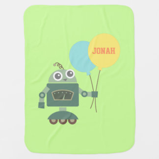 Cute Robot with Balloons For Babies Baby Blanket