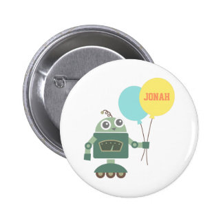 Cute Robot with Balloons for kids Button