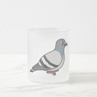 Cute Rock Pigeon Frosted Glass Mug
