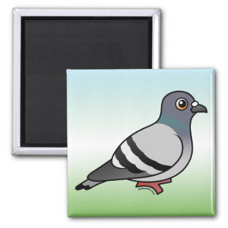 Cute Rock Pigeon Square Magnet