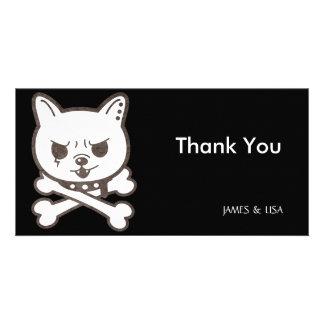 Cute Rocker Puppy Skull Custom Photo Card