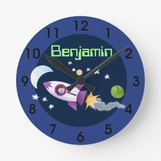 Cute rocket ship in space cartoon illustration round clock