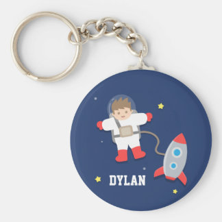 Cute Rocket Ship Outer Space Astronaut For Kids Key Ring