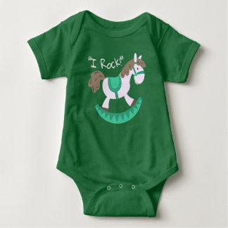 "Cute Rocking Horse ""I Rock"" Slogan Baby Bodysuit"