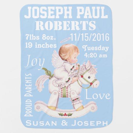 Cute Rocking Horse Personalised Baby Angel Blanket