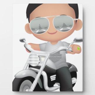 Cute RockStar on Motorcycle Photo Plaque