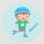 Cute Roller Skater Boy Personalised Stickers