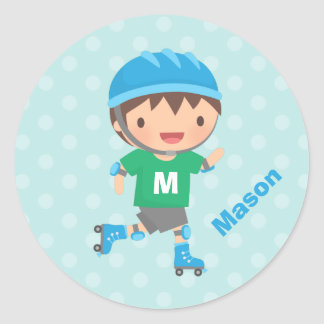 Cute Roller Skater Boy Personalized Stickers