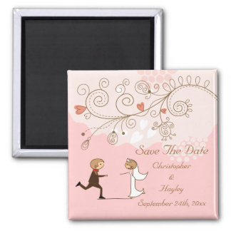 Cute Romantic Bride Groom Save The Date Wedding Fridge Magnets