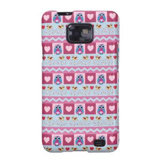Cute romantic case with love birds hearts owls samsung galaxy s cases