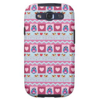 Cute romantic case with love birds, hearts & owls galaxy SIII cases