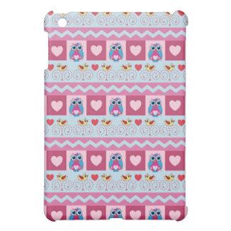 Cute romantic case with love birds hearts owls iPad mini case