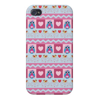 Cute romantic case with love birds, hearts & owls iPhone 4/4S cover