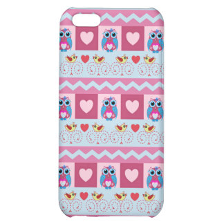 Cute romantic case with love birds hearts owls iPhone 5C cases
