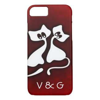 Cute Romantic Cat Couple in Love iPhone cases