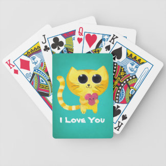 Cute Romantic Cat with Heart Bicycle Playing Cards