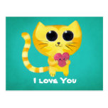 Cute Romantic Cat with Heart Postcards