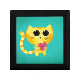 Cute Romantic Cat with Smiling Heart Gift Box