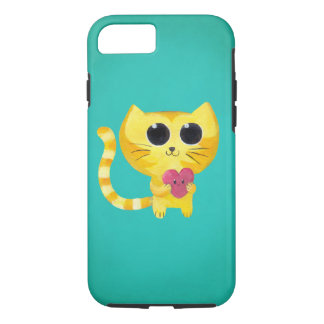 Cute Romantic Cat with Smiling Heart iPhone 8/7 Case