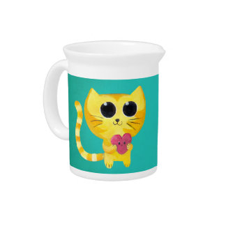 Cute Romantic Cat with Smiling Heart Beverage Pitcher
