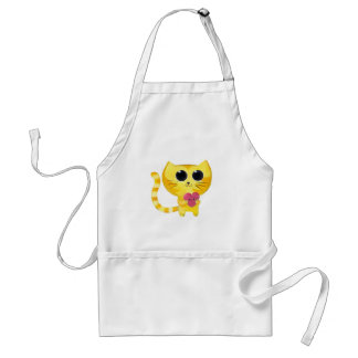 Cute Romantic Cat with Smiling Heart Standard Apron