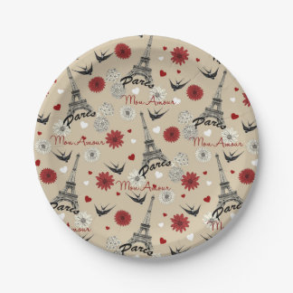 Cute romantic Eiffel Tower, hearts, flowers Paper Plate