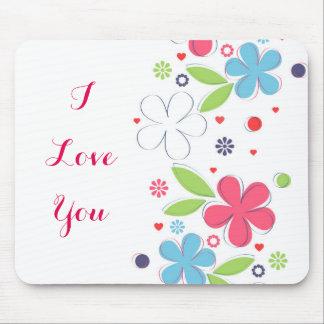 "Cute romantic flowers illustration ""I Love  You"" Mouse Mat"