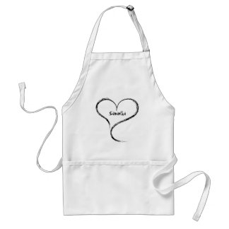 Cute romantic freeform heart add your name standard apron